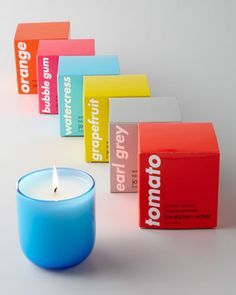 Pop Scented Candle by Jonathan Adler at Neiman Marcus. Hmmm.. there's an Earl Grey and also a Sea Salt candle