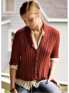 Nantucket Jacket - A rich play of texture patterns - twist stitches, cables, and ribs - embellishes this fitted cardigan. Small gussets worked in seed stitch taper from the hem to shape the waist on front and back, and three-quarter-length sleeves end just below the elbow