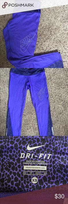Nike 3/4 running pants xs  purple nike pants Nike Pants