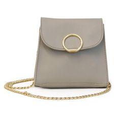 12183193423c28 Small Rectangle Grey Gold Circle Detail Crossbody Bag Rectangle Shape, Cute  Fashion, Crossbody Bag