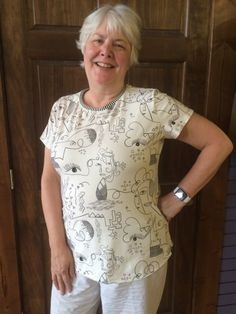 Karen's eTee ($10) looks great made out of a fun knit. She made it during our Sew Kansas event at The Sewing Workshop! Guests learned how to alter patterns, sew new ones and shared their patterns.