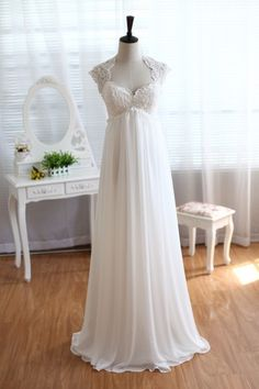 Lace Chiffon Wedding Dress Keyhole Back Empire Waist Maternity Dress with Cap Sleeves