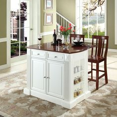 """Crosley Furniture KF300071WH Drop Leaf Breakfast Bar Top Island in White Finish with 24"""" Cherry Shield Back Stools"""