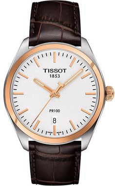 Tissot 100 Quartz Gentwatch featuring a Whitedial with Rose Goldcase, Rose Gold hands and date display. PVD plated stainless steel case and an elegant Croc-Embossed Brown Leather bracelet. Sport Watches, Watches For Men, Casual Watches, Men's Watches, Le Locle, Brown Leather Strap Watch, Beautiful Watches, Luxury Watches, Smooth Leather