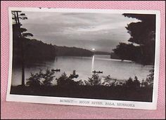Sunset Moon River Bala Muskoka Ontario Canada Photo Postcard