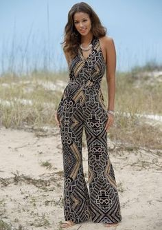 Angelic Jumpsuit from Monroe and Main. Halter-style wraps into a flattering, middle-cinching waistband over an elastic smocked panel. The ethnic print conceals with elegance. Rompers Women, Jumpsuits For Women, Casual Couture, Ethnic Print, Women's Summer Fashion, Fashion Outfits, Womens Fashion, Dress Patterns, Plus Size Fashion