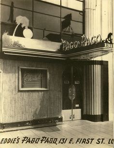 1940's postcard, views of building exterior w/bamboo & neon sign postcard from Pago Pago - Long Beach, CA.
