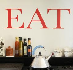 'Eat' Wall Sticker by leonora hammond, the perfect gift for Explore more unique gifts in our curated marketplace. Methylene Blue, And There Were None, How To Remove, How To Apply, Pearl Grey, Beautiful Wall, Wall Stickers, Decorating Your Home, Vibrant Colors