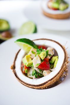Ceviche with Avocado. EASY Ceviche Recipe with avocado fish lime juice cilantro and tomato. Healthy GF and SO refreshing! Great as an appetizer or salad! Fresh Fish Recipes, Avocado Recipes, Seafood Recipes, Mexican Food Recipes, Whole Food Recipes, Cooking Recipes, Mexican Desserts, Freezer Recipes, Freezer Cooking