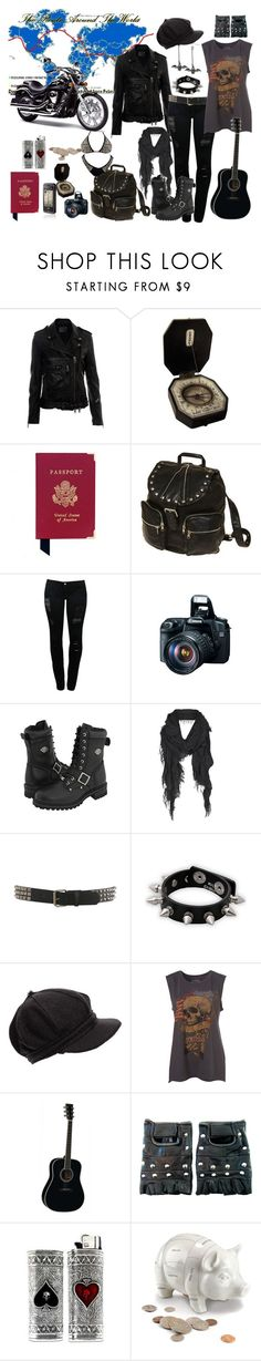 """""""Travel."""" by xivethx ❤ liked on Polyvore featuring R13, Aspinal of London, Gentle Fawn Clothing, LG, Eos, Harley-Davidson, AllSaints, Wet Seal, Hot Topic and Backstage"""