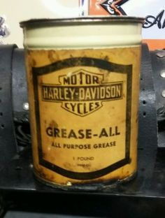 Vintagerare Harley Davidson Grease All Oil 1 Pound Oil Can. Paper ...