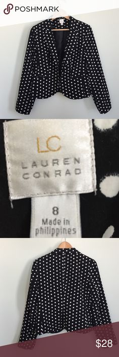 LC Lauren Conrad Polka Dot Blazer 8 Black This is an EUC LC Lauren Conrad Blazer in black with polka dots. Super cute. DRESS it up for the office or dress it down with leggings or jeans. LC Lauren Conrad Jackets & Coats Blazers