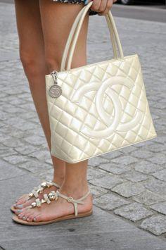 Chanel White pearl bag