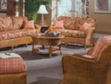 Valencia - Wicker furniture for sunroom, covered patio, porch, or living room.  Sofa, loveseat, chair, coffee table, end table, rocking chair, wing back chair,  ottoman, dining chairs, chaise lounge and table.