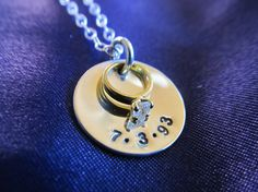 Hand Stamped Sterling Silver Diamond Mini Promise, Engagement Ring Necklace by FayWestDesigns