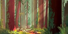 """tinysnails: """" never had a chance to show my piece for Light Grey Art Lab's show, In Place All the artwork has been compiled into a beautiful book, you can check it out here. You can also purchase my print here. i did a mossy redwood forest with some. Forest Illustration, Landscape Illustration, Environment Concept Art, Environment Design, Landscape Concept, Landscape Art, Grey Art, Visual Development, Design Development"""