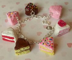 Assorted Cake Slice Charm Bracelet by ScrumptiousDoodle on Etsy. I basically love everything in this shop!