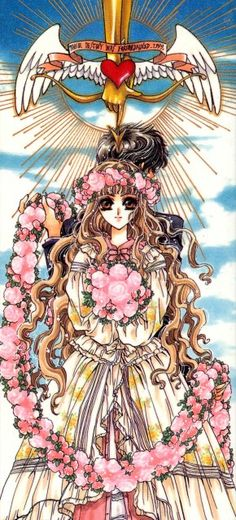 """Kamui Shirou & Kotori Monou with pink flower crown & bouquet from """"X"""" series by manga artist group CLAMP."""