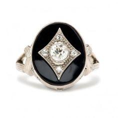 Vintage Art Deco Unique Diamond Wedding Engagement Ring | Art Deco Unique Diamond Engagement Ring