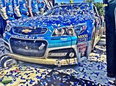 Dale Earnhardt Jr car in victory lane at Talladega spring 2015