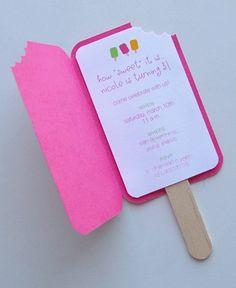leuke kinder uitnodiging in vorm van een ijsje met hapje:-)