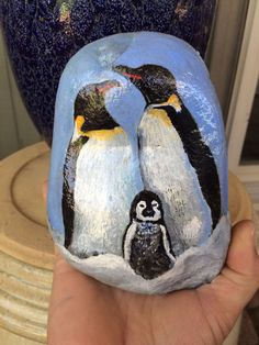 Handpainted Penguin Family Stone by PaintRiver on Etsy