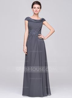 A-Line/Princess Scoop Neck Floor-Length Chiffon Mother of the Bride Dress With Ruffle Beading Appliques Lace Sequins (008058395)