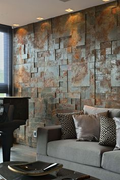 Wandgestaltung an aged metal accent wall brings industrial esthetics to the living room How To Care Wooden Wall Decor, Wooden Walls, Wall Cladding Interior, Stone Wall Design, Stone Cladding, Dining Room Walls, Stone Wall Living Room, Ceiling Design, Textured Walls