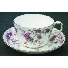 teacup and saucer Cup And Saucer Set, Tea Cup Saucer, Tea Cups, Vintage Coffee, Vintage Tea, My Cup Of Tea, China Patterns, Violets, Fine China