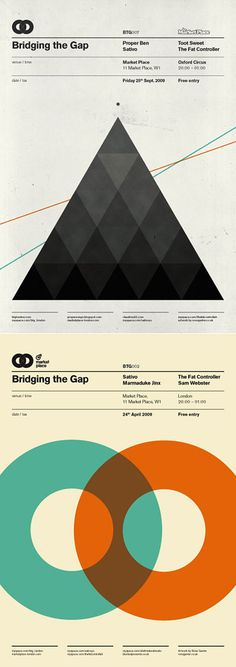 Poster design by Ross Gunter. I love how the top one of the poster is like a modern version of Pink Floyd's Dark Side of the Moon album cover.  The colors of the second poster look very retro, but the use of a turquoise instead of green brings a modern feel to the poster.