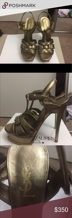 100% AUTH Saint Laurent YSL tribute heels 35.5 This is a 100% authentic Saint Laurent 105 heels made of gold leather is size 35.5. These have been used but in good condition. Please refer to the photos for signs of wear. They come with a box but no dustbag. The box is from another pair of ysl heels I know. Saint Laurent Shoes Heels
