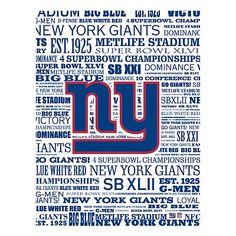 New York Giants Typography Canvas Wall Art