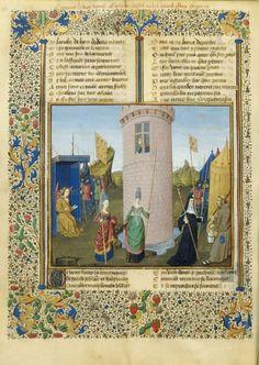 Attaque du château de Jalousie : la guerre de l'amour  Roman de la rose  Guillaume de Lorris et jean Meun, Anjou, vers 1460.  BNF, Manuscrits, français 19153