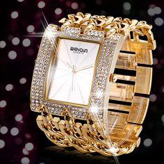 $23.74 WEIQIN Luxury Crystal Diamond Gold Bracelet Watches Women Ladies Fashion Bangle Dress Watch Woman Clock # Luxury #Crystal #Gold #Bracelet #Watches #Fashion #Bangle #Watch