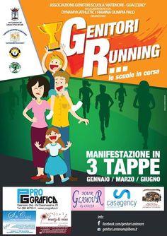 Genitori Running. Le scuole in corsa il 09 gennaio 2016, 19 marzo 2016 e 02 giugno 2016 a Palo del Colle (Ba). Evento unico nel suo genere. Unisce  le famiglie, lo sport e la scuola.