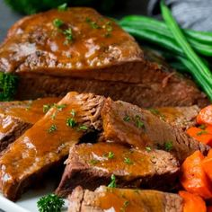 This slow cooker brisket is beef simmered with vegetables and seasonings in the crockpot until it is fall-apart tender. An easy dinner option! Slow Cooker Chili, Slow Cooker Baked Beans, Slow Cooker Brisket, Beef Brisket Recipes, Slow Cooker Recipes, Crockpot Recipes, Slow Cooking, Cooking Ideas, Mongolian Beef Recipes