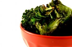Kale Chips - 100 calories and 350% of your daily allowance in vitamin A per 1/4 pound serving.