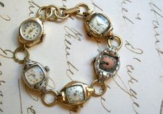 Bracelet is made with 5 vintage ladies wrist watch faces, measures 7.5in long. One watch is 10kt gold fill, another has the name Wilma and 1962 engraved on the back and is 14kt gold filled. Watch faces are antique and show wear, one face is missing the crystal
