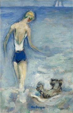"""colin-vian: """" Kees van Dongen - La Baigneuse et son chien dans les vagues, n.d. Oil on canvas """""""