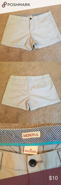 Target Merona Chino Shorts worn once, great condition. smoke free home. Target Merona brand shorts. Light gray in color. Super cute and comfy on! Merona Shorts