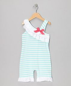 Take a look at this Aqua Asymmetrical Ruffle Romper - Infant by Hula Mula on #zulily today!