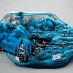 Body Crash, 17 Painted People Form Sculpture of Crashed Car