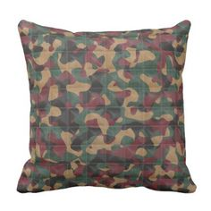 Throw Pillow with Printed Quilted Camo Pattern - home gifts ideas decor special unique custom individual customized individualized