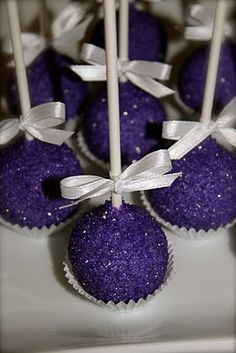 Royal Purple Chocolate Cake Pops! I want these for my graduation party!