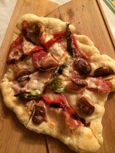 Fava Bean, Prosciutto, Taleggio, Chili Pepper Pizza  Arrange cured Fava Beans, Prosciutto, Taleggio cheese and grilled Chili Peppers on favorite base and bake on stone using your Pizza Paddles from http://pizzadaily.org