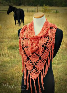Crochet Fringe Cowl Infinity Cowl Triangle by WhimsiesCrochet