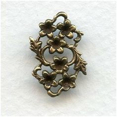 Floral Connector to Set Stones Into Oxidized Brass - VintageJewelrySupplies.com