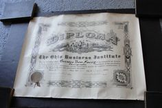 For your consideration is a Lovely, Vintage 1920 Original The Ohio Business Institute Diploma with Seal, Warren, Ohio-Art Print, Unframed!!!  Size: 22 x