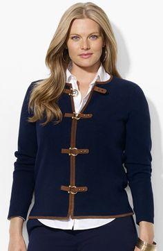 Lauren Ralph Lauren Buckled Knit Jacket (Plus Size) available at  Nordstrom  Cotton Cardigan d1de9464c2