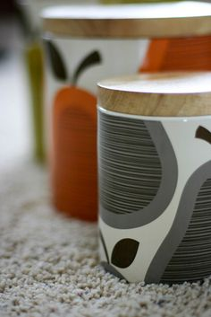 Orla Kiely jars, I have these in my kitchen & adore them.